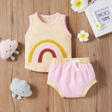 Sommer Infant Toddle Baby Kleiden 100% Baumwolle Regenbogen Weste Set Zwei-Stück Set nette weste + Spitze up slip hosen Baby Mädchen Jungen 2PCS