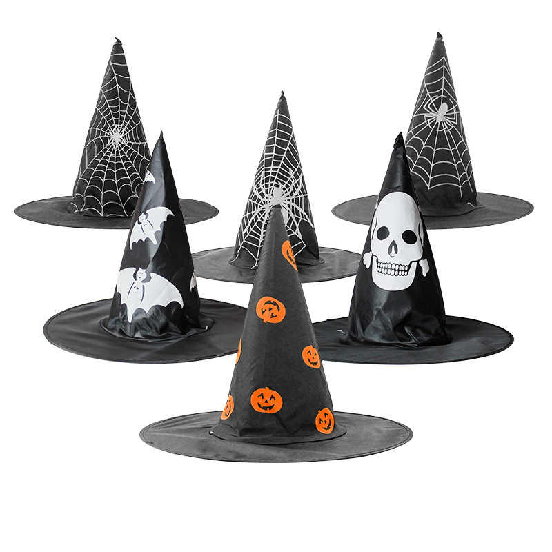 Halloween Witch Hats Halloween Pumpkin Cap Masquerade Ribbon Wizard Hat Adult Kids Cosplay Costume Accessories Party Dress Decor