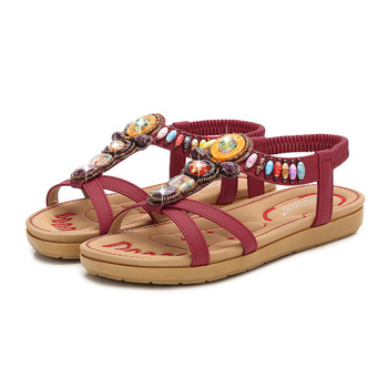=New Bohemia Women Sandals Handmade Crystal Summer Shoes Woman Gladiator Beach FlatCasual FlipFlops Ladies Sandalias