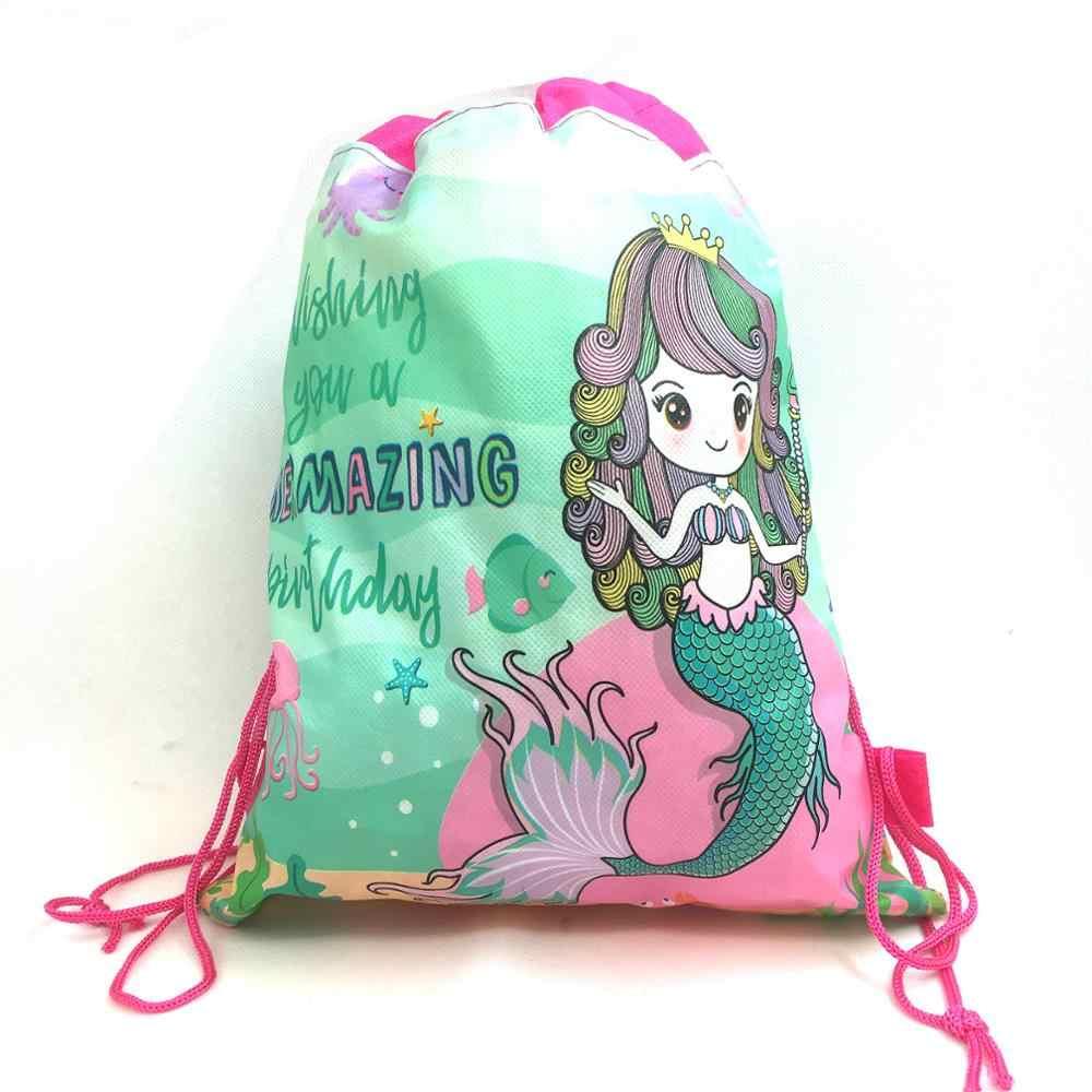 1pcs Mermaid Cornici e articoli da esposizione Drawstring bag per le Ragazze di Viaggio di Immagazzinaggio Del Fumetto di Scuola Zaini Dei Bambini Di Compleanno Bomboniere e Ricordini