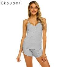 Ekouaer 女性のセクシーなパジャマ夏パジャマセット V ネックノースリーブ固体キャミソールトップスショーツルースパジャマスーツホームウェア