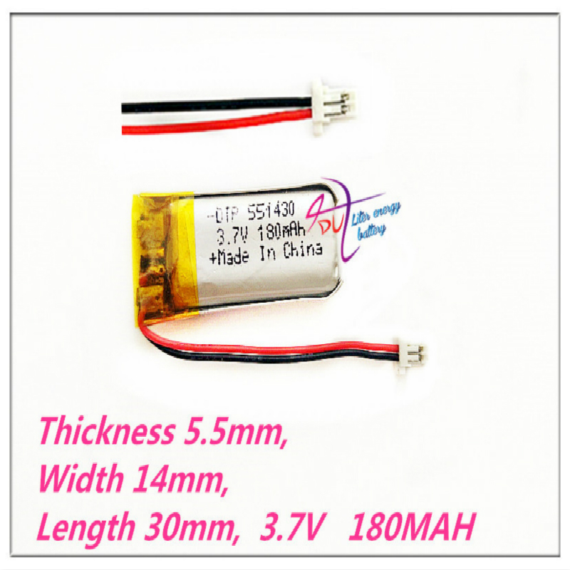 XHR-2P 1.0 551430 <font><b>3.7V</b></font> 180mAh 551429 Lithium Polymer <font><b>LiPo</b></font> Rechargeable ion cells For Mp3Mp4 Mp5 DIY PAD E-book bluetooth headset image