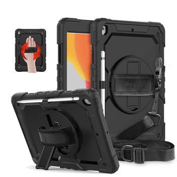 Funda para iPad 10,2 2019, Protector de pantalla con soporte giratorio, correa de mano, funda protectora de cuerpo entero resistente para iPad 7. ° Gen
