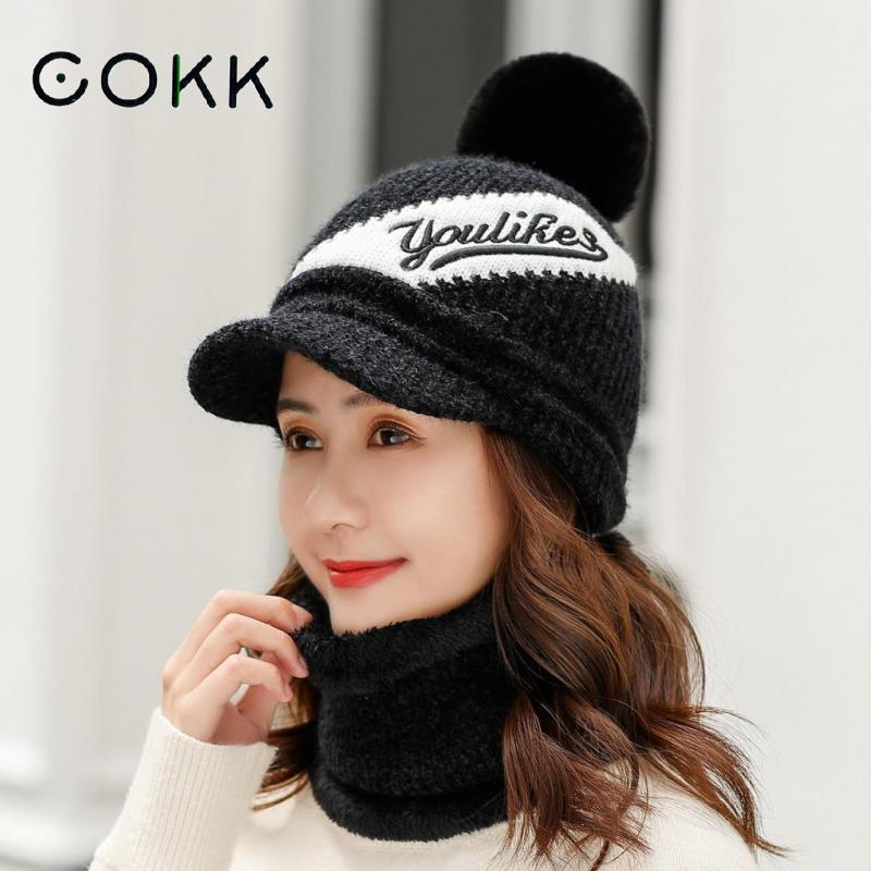 COKK Ladies Hat & Scarf Big Pompom Fur Ball Knitted Hat With Scarf Collars Sets For Women Girls Winter Cap Windproof Ear Protect