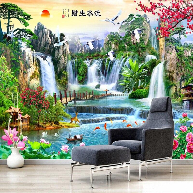 Пользовательские фото обои в китайском стиле 3D стерео водопад природный пейзаж фрески гостиная ТВ диван для учебы обои для гостиной