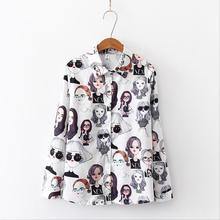 2019 New Winter Fashion Women Vintage Print Korean Shirt Casual Long Sleeve Loose tops