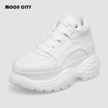 2020 White Fashion Women Platform Sneakers Leather Causal Ladies Chunky Sneakers Woman High PU Black Sports