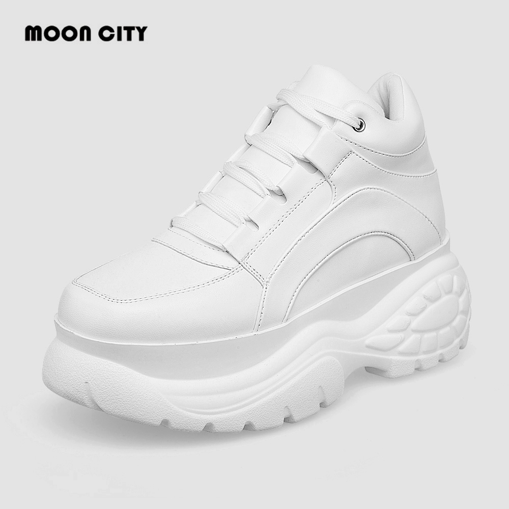 2020 White Women Platform Sneakers Leather Causal Ladies Chunky Sneakers Woman High Black Sports Fashion Brand Thick Soled Shoes