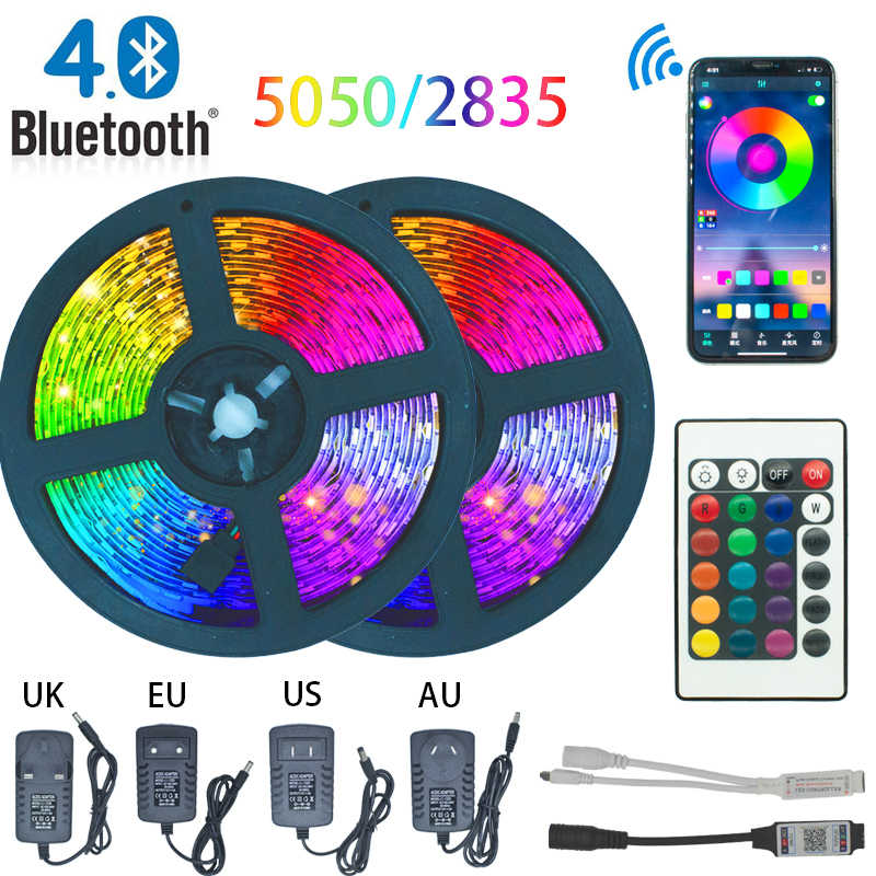 Tira de luces LED, luces Bluetooth, 2835 5050 Led RGB, cinta de lámpara Flexible impermeable con cinta de diodo DC 12V 5M 10M 32,8 pies 20M