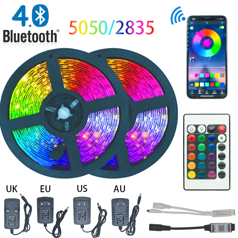 LED Strip Light Bluetooth luces Led RGB 5050 2835 Waterproof  Flexible Lamp Tape Ribbon With Diode Tape DC 12V 5M 10M 32 8ft 20M