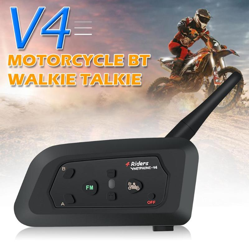 Motorcycle Helmet Headsets Intercom Bluetooth Real-Time-Call Full-Duplex 4-Riders V4