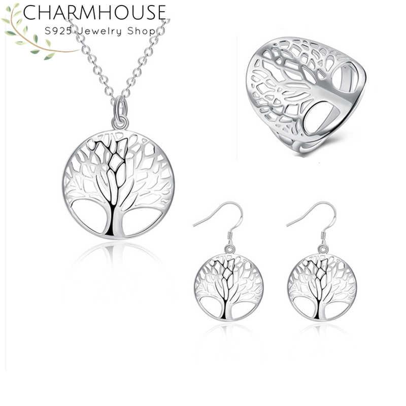 Charmhouse เงิน 925 เครื่องประดับชุดผู้หญิงต้นไม้จี้สร้อยคอแหวนต่างหู 3 pcs ชุดเครื่องประดับงานแต่งงาน