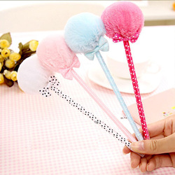 1pcs/lot Fashion Bow Plush Ballpoint Pen Stationery Office School Supplier Caneta