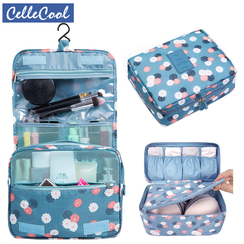 Travel Storage 3Pcs/set Cosmetic Bag Organizer Hanging Wash Bag Makeup Bra Underwear Storage Bag Travel Accessories 3pcs