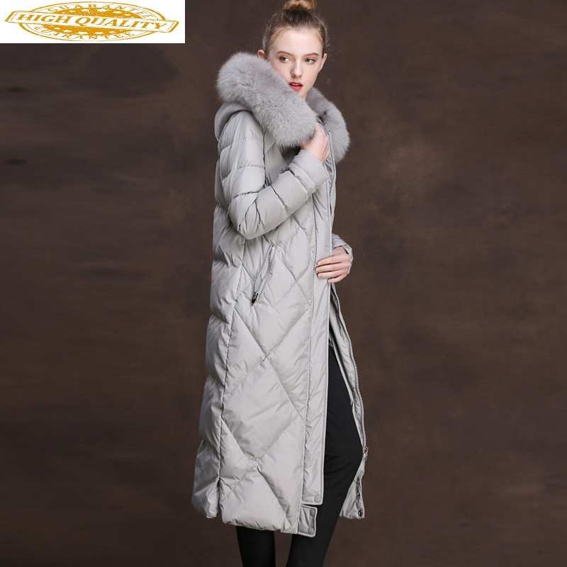 Women's Down Jacket Winter Jacket Women Real Fox Fur Collar Long Jackets For Women Parka Warm Down Coat Veste Femme MY