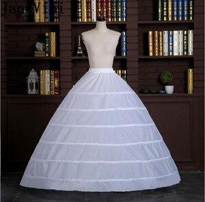 Image 4 - JaneVini كبير الكرة ثوب تنورات تحتية طويلة 6 الأطواق الزفاف الأبيض Quinceanera اللباس قماش قطني Underskirts لانج Onderrok