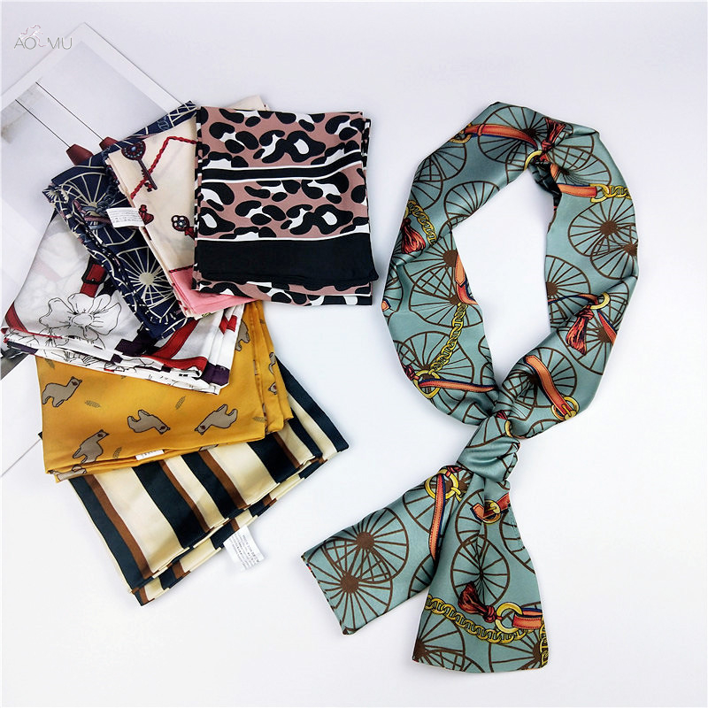AOMU 15*145 Long Strip Casual Floral Print Satin Silk Scarf Female Tie Bag Ribbon Women Korean Style Head-Neck Thin Soft Scarves