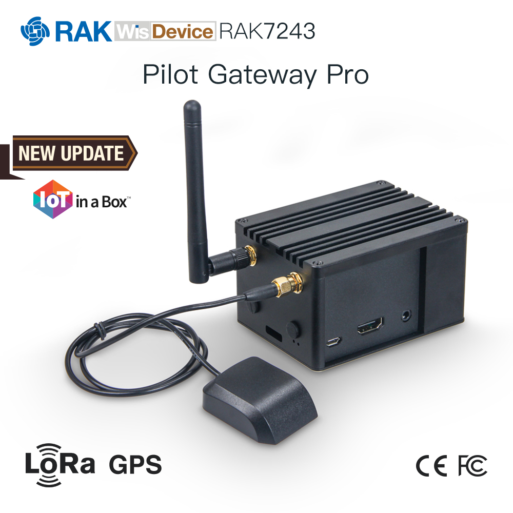 Rak7243 piloto gateway pro raspberry pi 3b + sx1301 módulo de lorawan interior com rak2245 lora concentrador gps antena dissipador calor