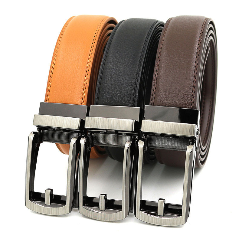 3.1cm Width Thin Designer Men Belt Cow Genuine Leather Men's Automatic Buckle Belt for Jeans Black White Blue Yellow Red Brown