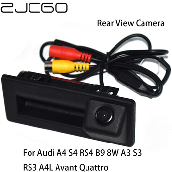 ZJCGO Car Rear View Reverse Back Up Parking Trunk Handle Waterproof Camera for Audi A4 S4 RS4 B9 8W A3 S3 RS3 A4L Avant Quattro lsrtw2017 fiber leather car trunk mat for audi a4 allroad 2018 2019 a4 avant a4 b9