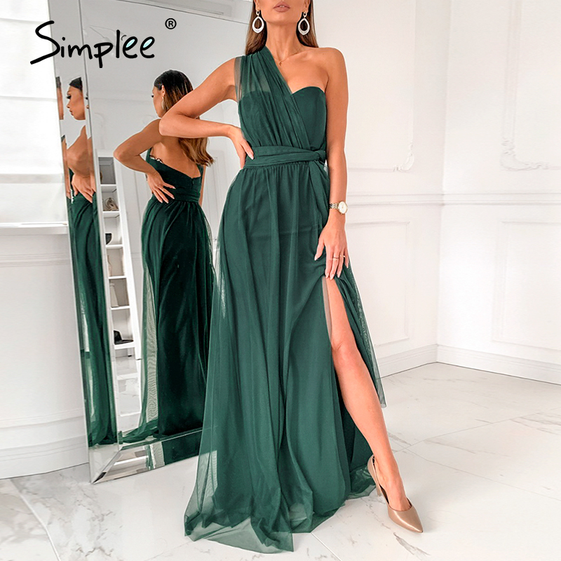 Simplee Elegant Tulle Solid Green Evening Dress Long Sexy Tube Top One-shoulder Dress Summmer Holiday Slim Flowy Beach Dress