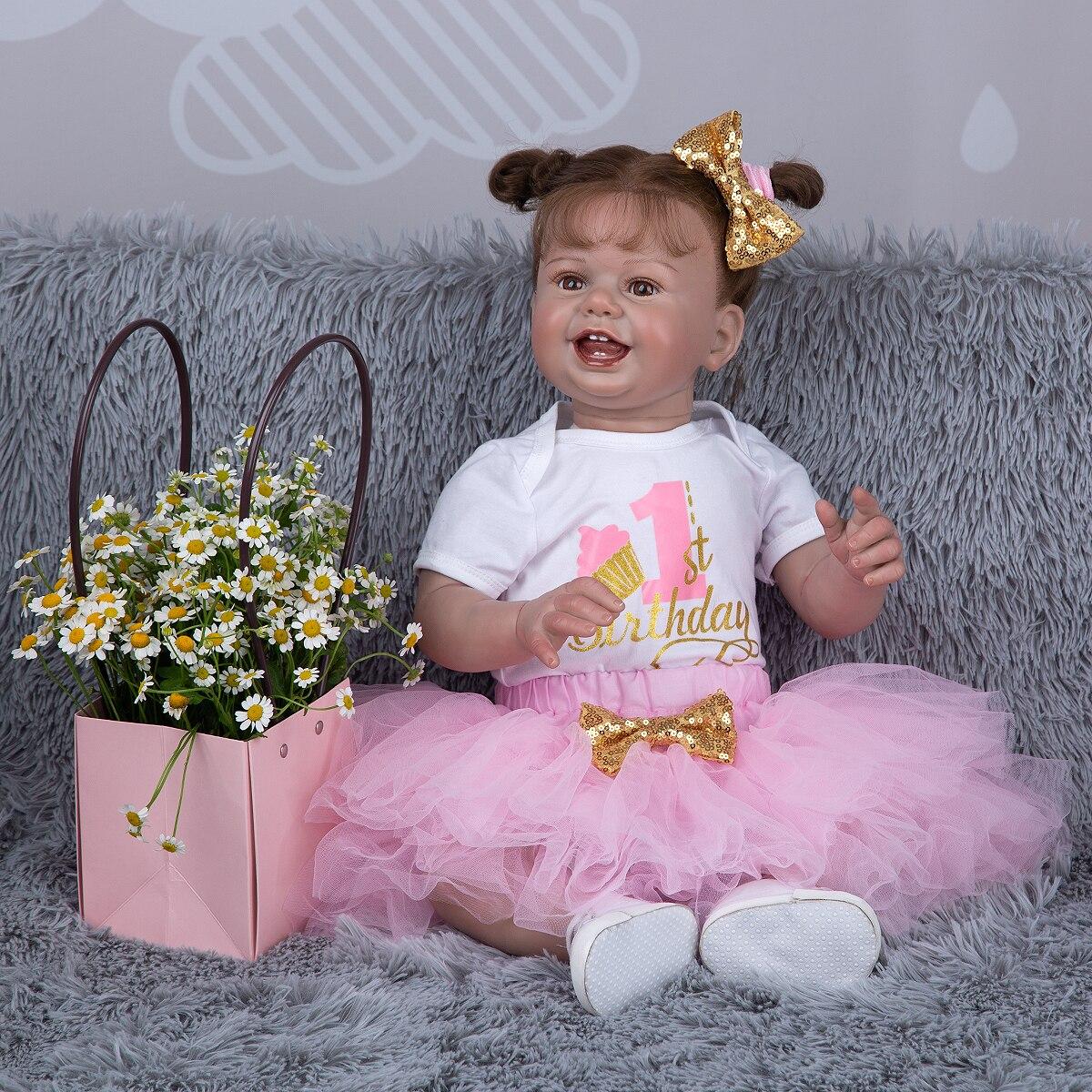 Bebe Boneca 27 Zoll Lächeln Gesicht Reborn Baby Puppen Verwurzelt Haar Lebensechte Newbron Kleinkind Puppe Spielzeug Für kinder Geburtstag geschenke