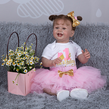 Bebe Boneca 27 Inch Smile Face Reborn Baby Dolls Rooted Hair Lifelike Newbron Toddler Doll Toys For Kid's Birthday Gifts