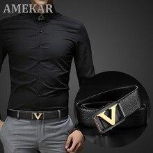Alta Qualidade Designer Cintos Homens Moda V Carta De Luxo Famosa Marca Couro genuíno Cinto Masculino clássico Requintado Cintura Cinta