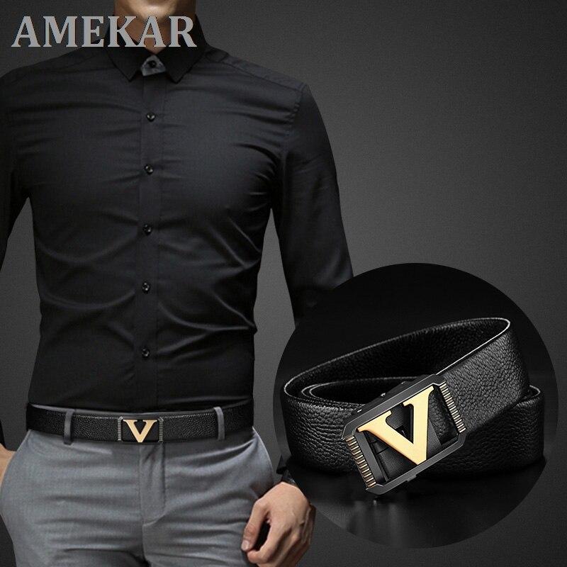 Высококачественные дизайнерские ремни для мужчин модные с украшением в виде буквы V роскошные мужские сумки из натуральной кожи от известн...