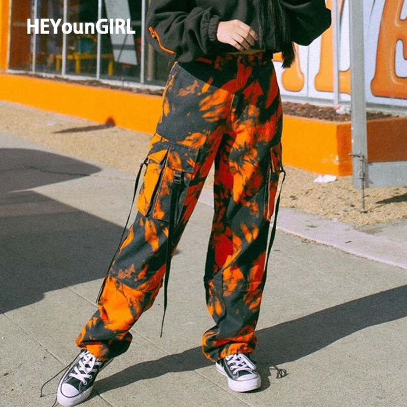 HEYounGIRL Tie Dye Print Cargo Pants Women Camo Orange Straight Long Trousers Casual Pockets Harem Pants Capris Streetwear 2020