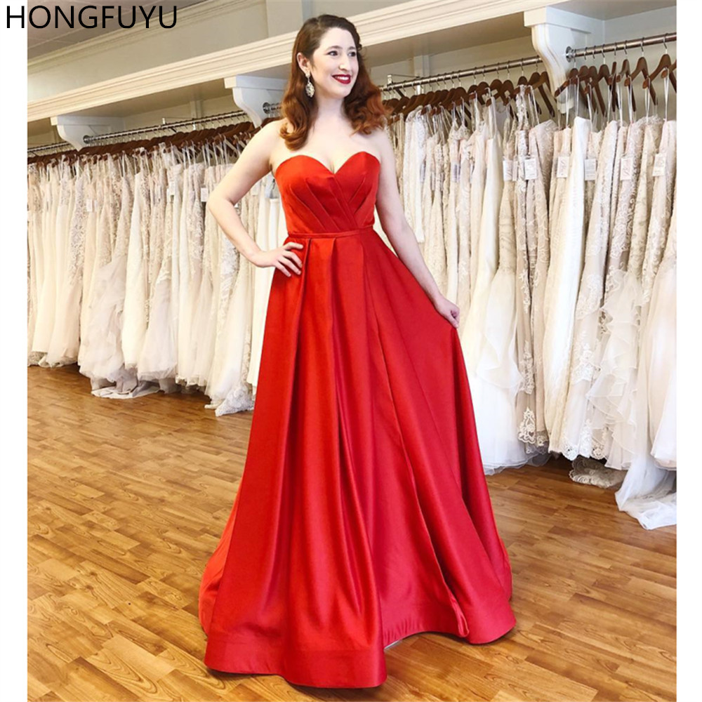 HONGFUYU 2019 Red   Prom     Dresses   Sweetheart Long Formal Party Gowns Pleats Satin A Line Evening   Prom     Dresses   vestido de formatura