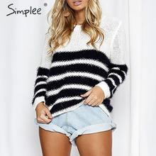 Simplee listrado malha camisola streetwear o pescoço manga longa macio solto pulôver camisola casual outono inverno camisola feminina