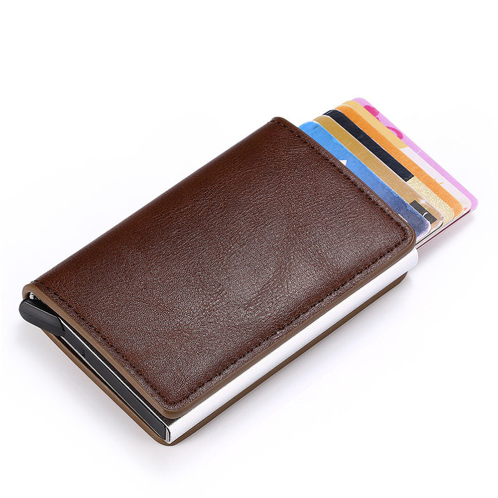 Rfid Wallet Leather Women Wallet Credit Card Holder Card Case Slim Wallet Card Holder Metal Money Bag Anti Theft Wallet image