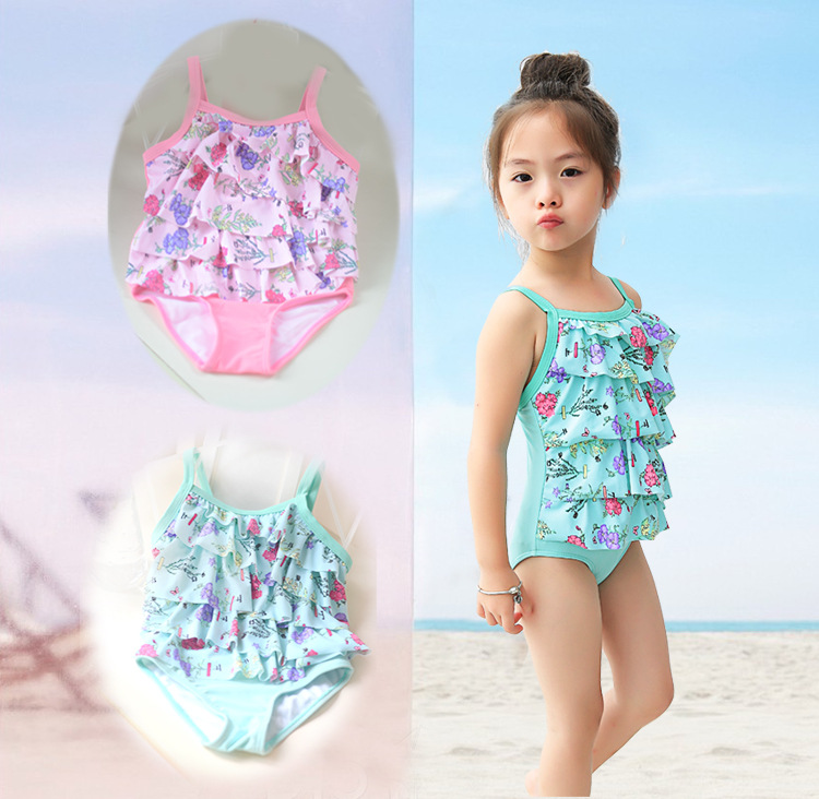 2019 KID'S Swimwear Infants Small Children Cute GIRL'S Baby Cake Multilayer Skirt One-piece Swimwear Combination