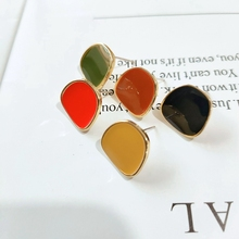 Stylish Simplicity Solid Color Dripping Oil Alloy K Gold Earrings Diy Accessories earring finding 4 pieces / lot
