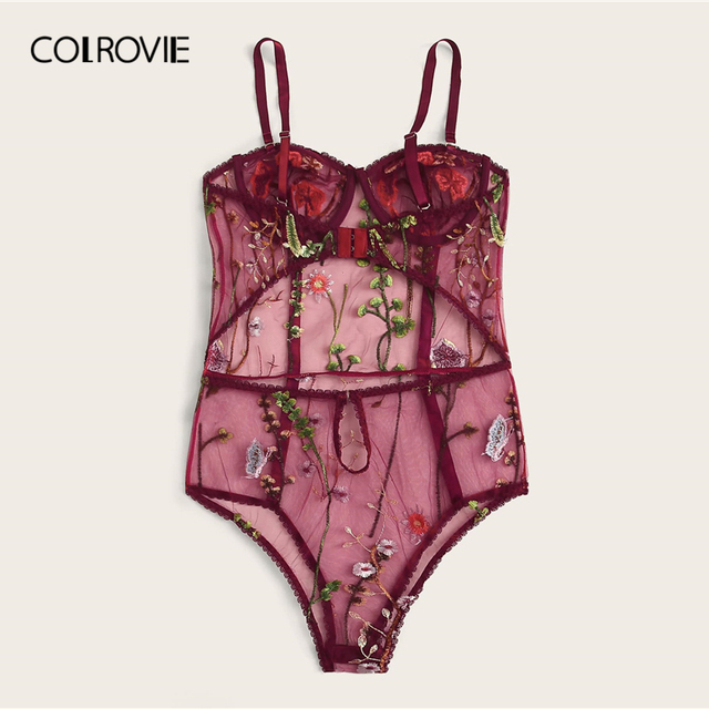 COLROVIE Burgundy Flower Embroidery Mesh Cami Teddy Bodysuit Women Teddies 2019 Sexy Lingerie Sheer Bodysuit Sleepwear 5