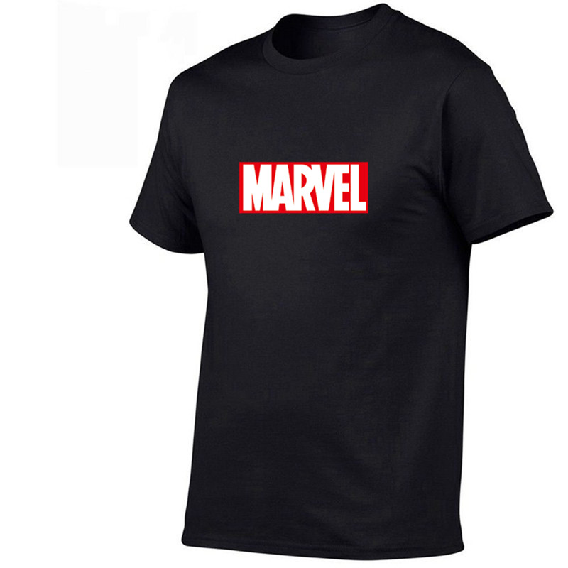 2020 New Fashion T Shirt Mens Cotton T-shirts Tee Short Sleeve High Quality Boys Tshirt TOPS Navy Print MARVEL
