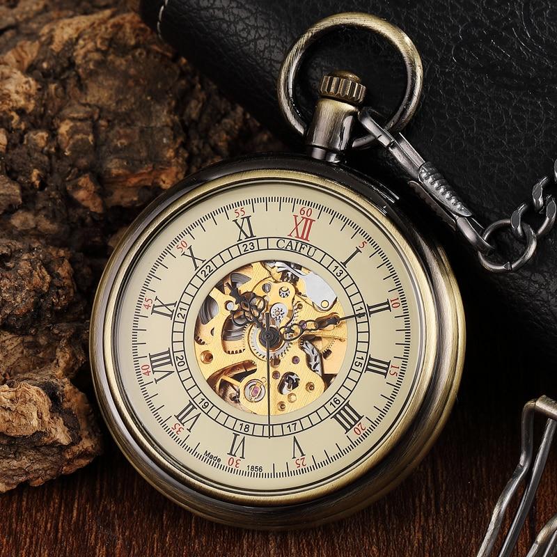 Unique Vintage Mechanical Pocket Watch Men Bronze Roman Number Dial Steampunk FOB Chain Hollow Skeleton Steampunk Clock Watches