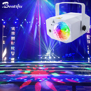 RGB LED Disco Ball Light Music Center DJ Bar Club Party Sound Lights Laser Projector Karaoke Strobe Dance Lighting 64 patterns