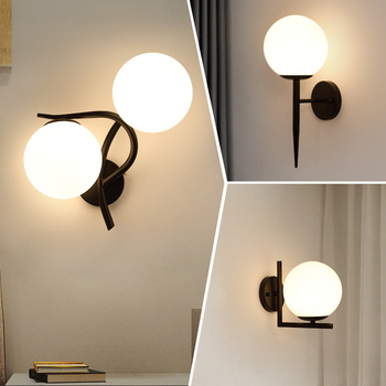 Modern iron wall lamp bedside lamp bedroom living room TV background wall lamp corridor simple black glass lampshade wall lamp