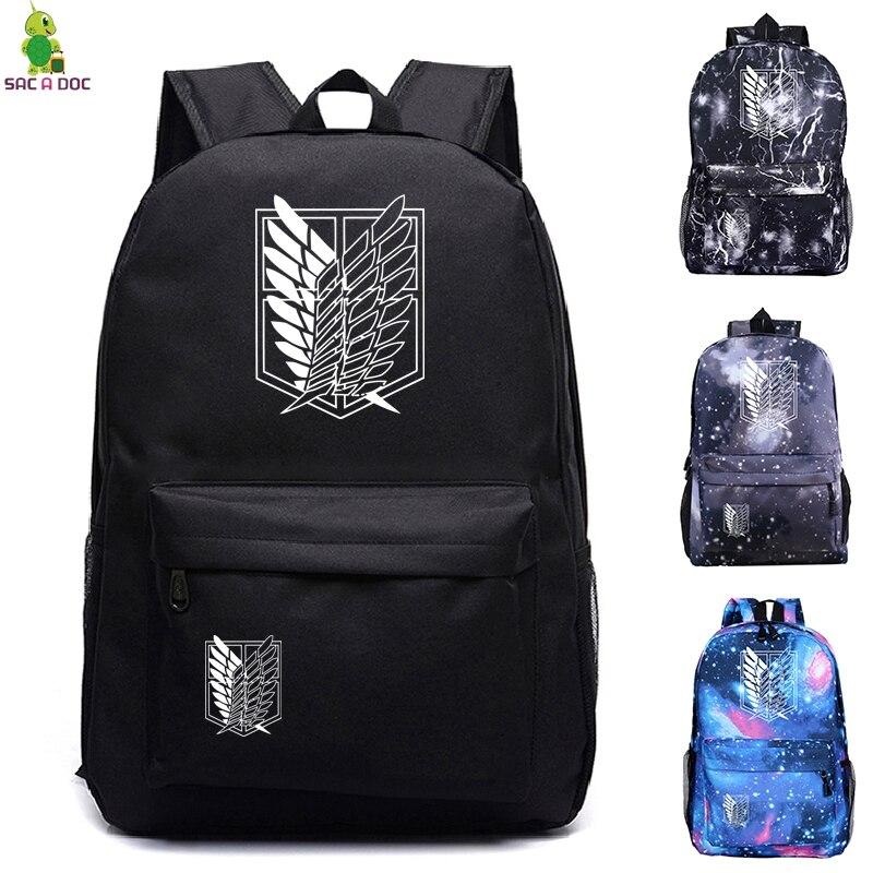 Ataque a mochilas Titan bolsas escolares para mujer/hombre bolsas de viaje Mochila para portátil adolescente Mochila de lona Anime Mochila