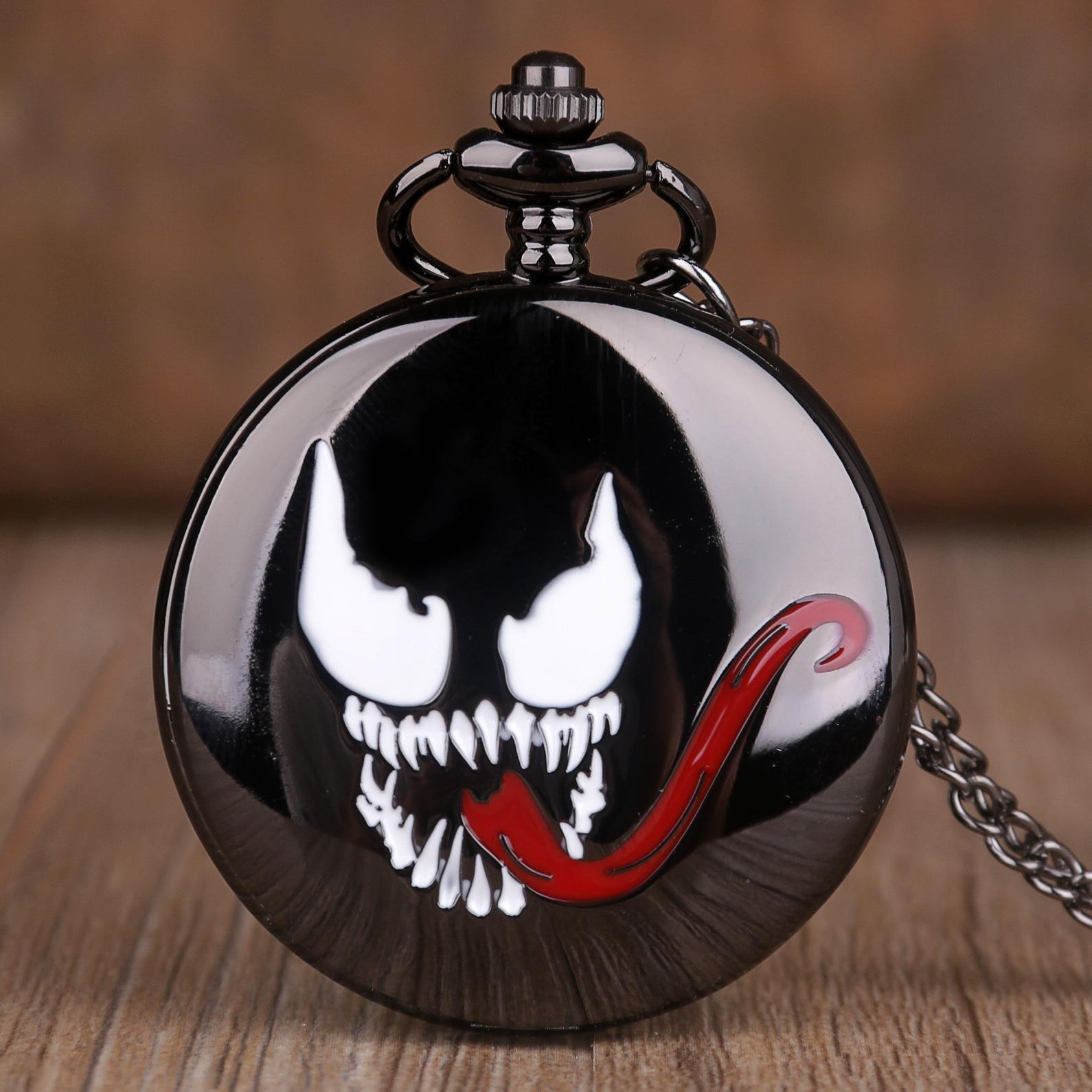 Evil Spirit Long Tongue Design Pendant Pocket Watch Black Steampunk Necklace Quartz Pocket Watches Souvenir Gifts For Men Women