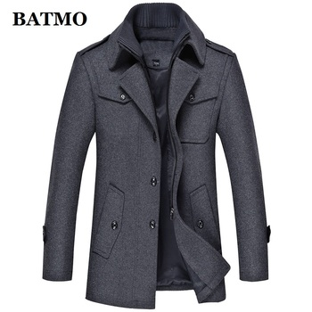 BATMO wool trench coat men ,new arriavl winter thicked wool jackets,men's warm coat plus-size M-4XL  1393