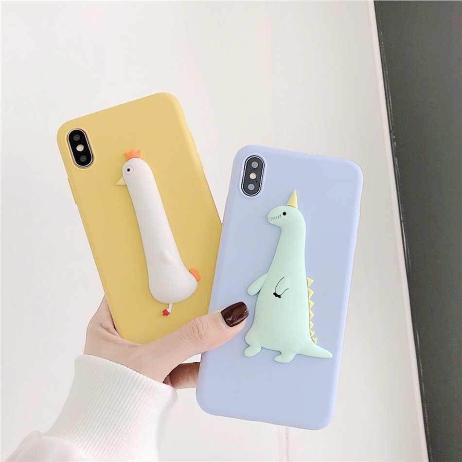 3D Beruang Lucu Dinosaurus DIY Case untuk iPhone 11 Pro XR X XS Max Anjing Kucing Lanyard Cover UNTUK iPhone 7 6 S 5 8 PLUS Kawaii Soft Case