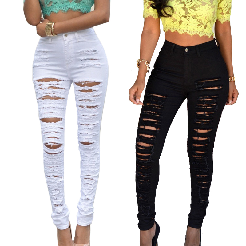 Women's Fashion Sexy Hole Jeans 2019 New Ladies Skinny Distressed Jeans High Waist Elastic Casual Slim Fit Denim Pencil Pants