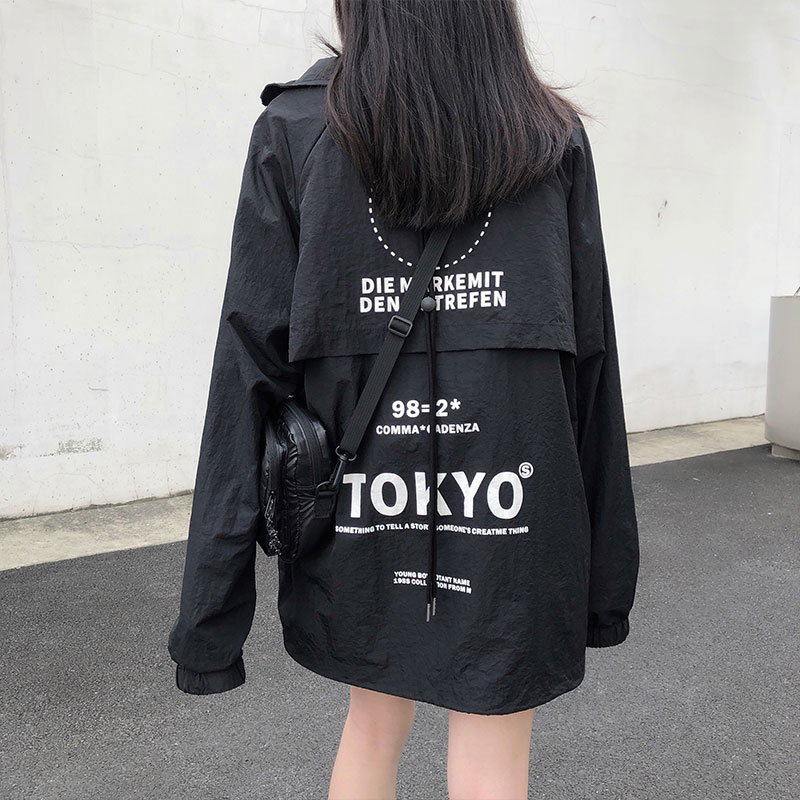 Women Black Coats 2020 Autumn Street Print Korean Ulzzang Style Loose Jacket Women Baseball Jackets Womens (X1049)