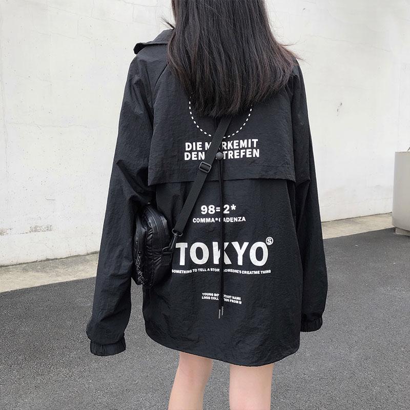 Women Black Coats 2020 Autumn Street Print Korean Ulzzang Style Loose Jacket Women Baseball Jackets Womens (X1049)