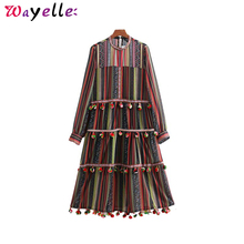 Vintage Women Party Dress Striped Chiffon Maxi 2019 Casual Fur Ball Decorate Long Sleeve Pleated Female Chic Dresses