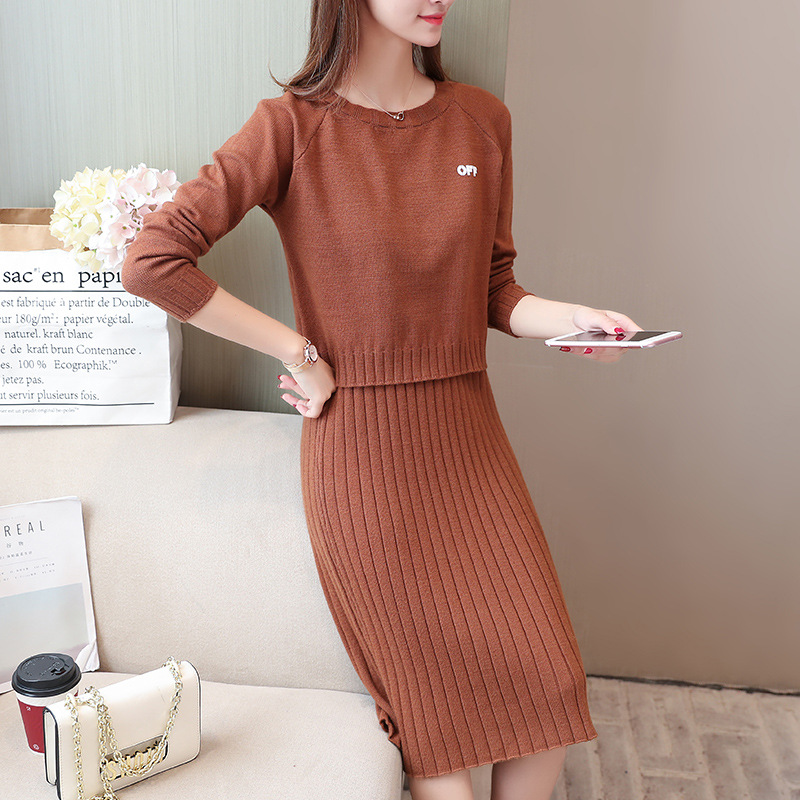 Fashion Elegant Dress Outfit Western Style Autumn And Winter New Style Korean-style Mid-length Very Fairy Of Sweater Knitted Pie