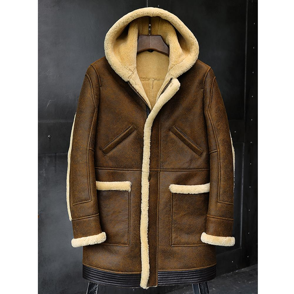 2019 New Mens Shearling Jacket Sheepskin Coat Hooded Leather Jacket Fur Coat Mens Winter Coats Long Fur Jacket